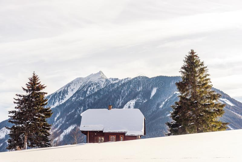 Wooden house with a chimney, located between two tall spruces, Christmas trees. Winter, mountain landscape covered with snow. In the background mountains royalty free stock photos
