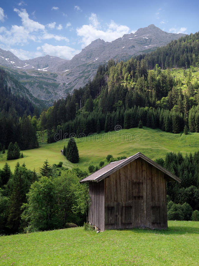 Download Mountain hut in the alps stock photo. Image of grass - 25761026
