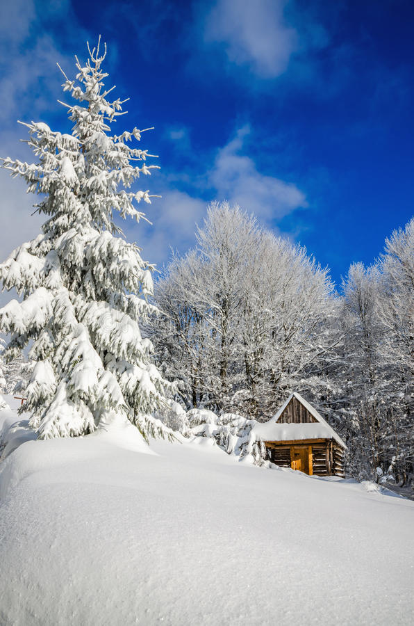 Free Mountain Hut In Winter Landscape Woods Stock Photo - 54317420