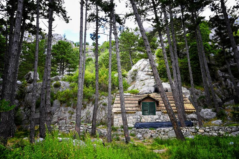 Mountain hut. In the mountains of Croatia royalty free stock image