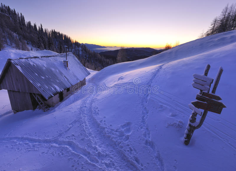 Mountain hut royalty free stock image