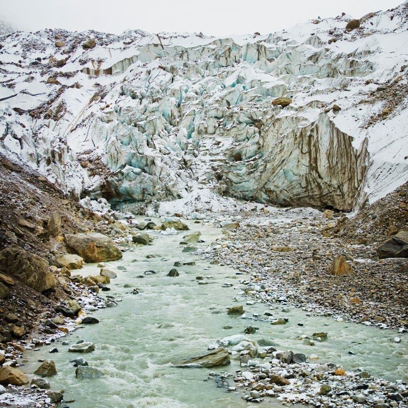 Mountain ice glacier Gomukh source of river Ganga panorama stock image