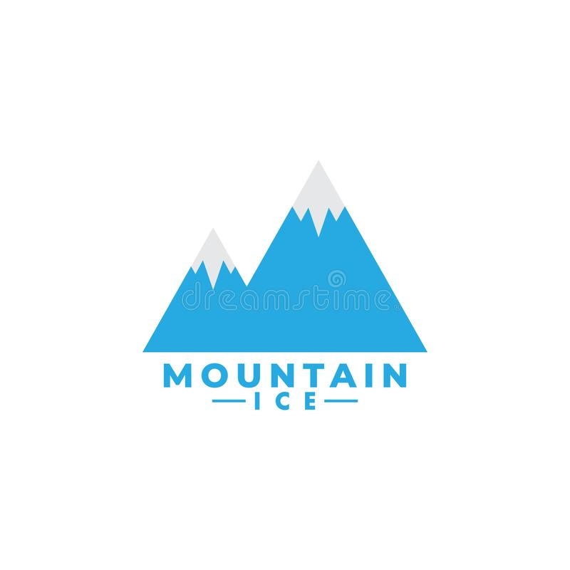 Mountain ice logo design template vector isolated. Minimalist, rocky, hills, panorama, sky, icon, logotype, outdoor, vacation, creek, sun, natural, nature vector illustration