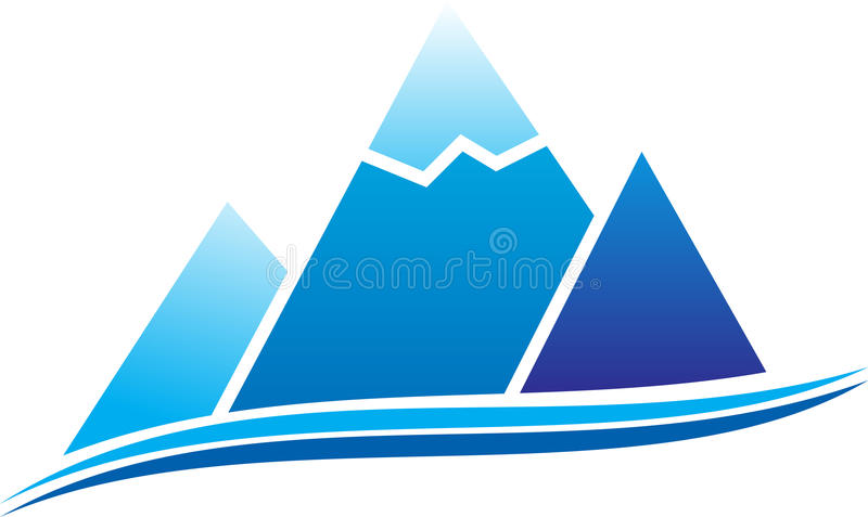 Mountain icon. Mountain with ice. Vector illustration stock illustration