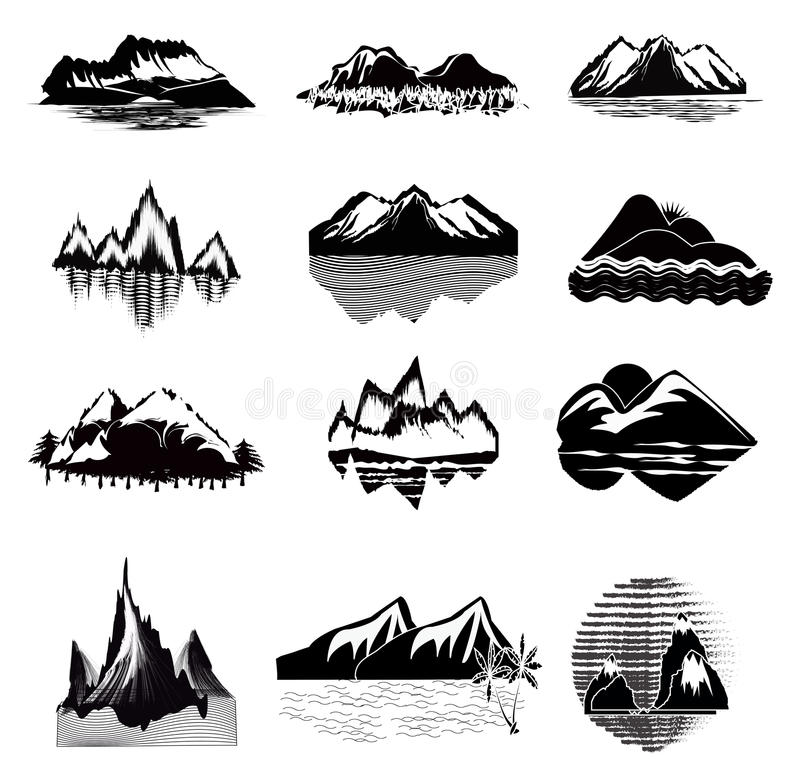 Mountain Icon Set. Set of mountain icons illustration , 16 icons royalty free illustration