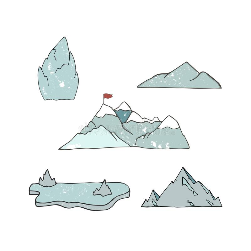 Mountain icons or logotypes. Vector illustration of mountains landscape isolated on white background. Hand drawn clip art grunge stock illustration