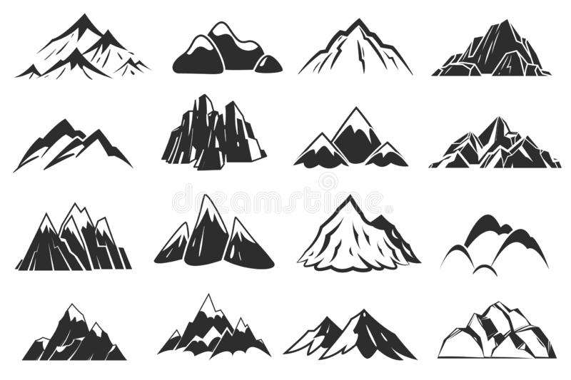 Mountain icons. Mountains top silhouette shapes, snow rocky range. Outdoor landscape hill peaks symbols vector set stock illustration
