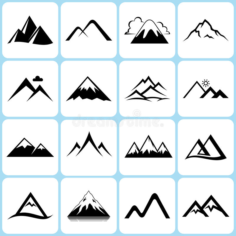 Mountain Icons Set stock illustration