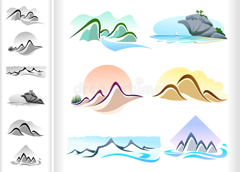 Mountain ICONS - Six Pack stock illustration