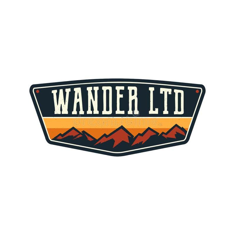 Free Mountain Illustration, Outdoor Adventure Logo Badge. Wander LTD Text. Vintage Hand Drawn Camping Emblem. Stock Vector Stock Image - 135732921