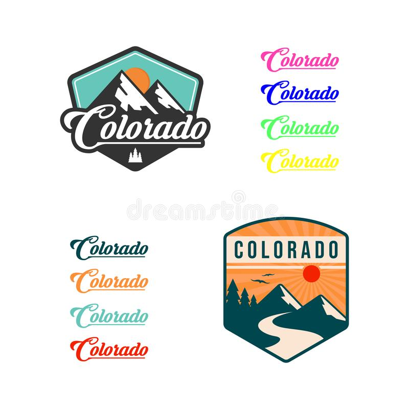 Mountain illustration, outdoor adventure . Vector graphic for t shirt and other uses. logo set stock illustration
