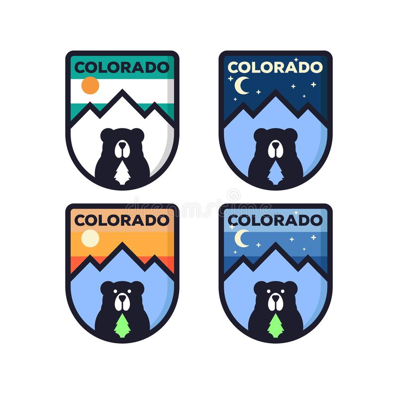 Mountain illustration, outdoor adventure . Vector graphic for t shirt and other uses. logo set with bear symbol royalty free illustration