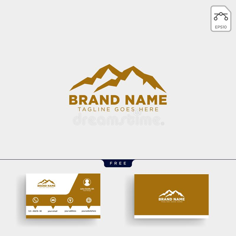 Mountain initial M logo template and business card design. Mountain initial M logo template vector illustration and business card design stock illustration