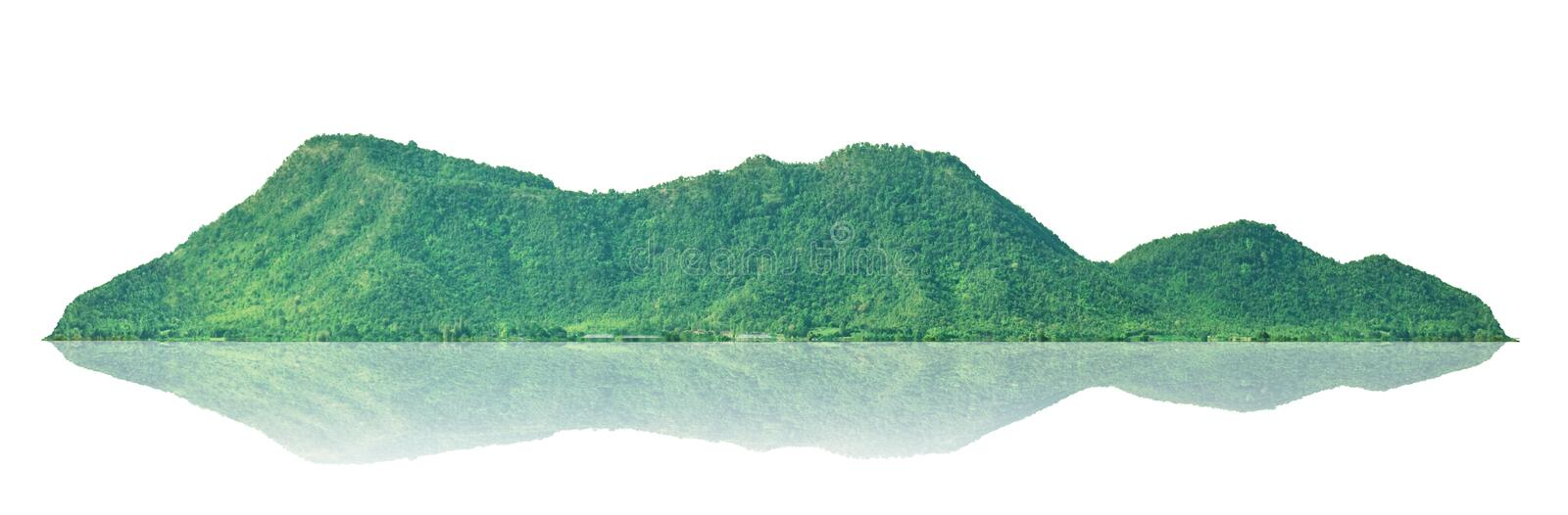 Mountain, isolated island on a white background with a trail. Background stock photography