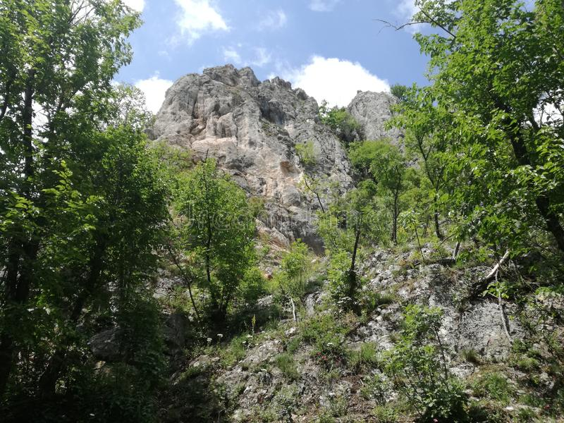 Mountain Jelica Cacak Serbia forest lanscape green slopes and elevations steep rocky edges. Mountain Jelica Cacak Serbia forest lanscape green slopes and stock photography