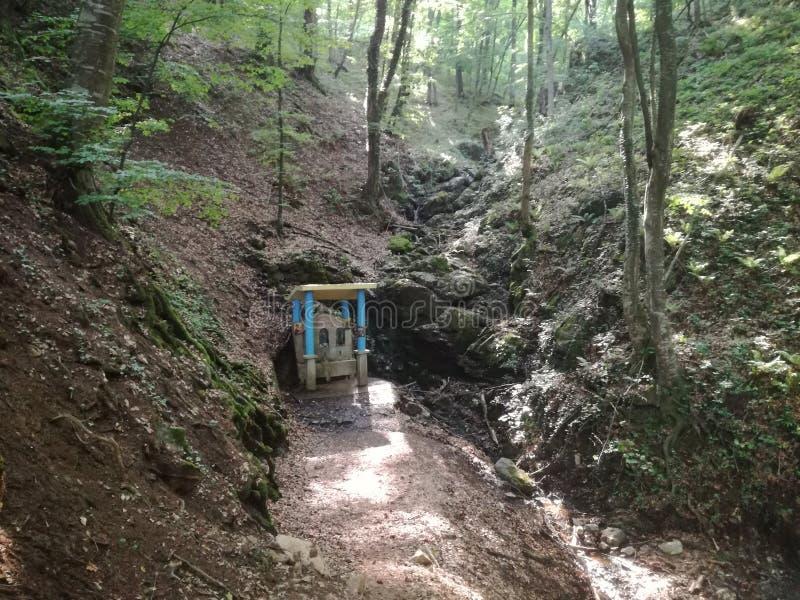 Mountain Jelica Cacak Serbia mountain spring with built landmark. Picture was taken during hiking stock photos