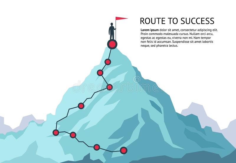 Mountain journey path. Route challenge infographic career top goal growth plan journey to success. Business climbing vector illustration