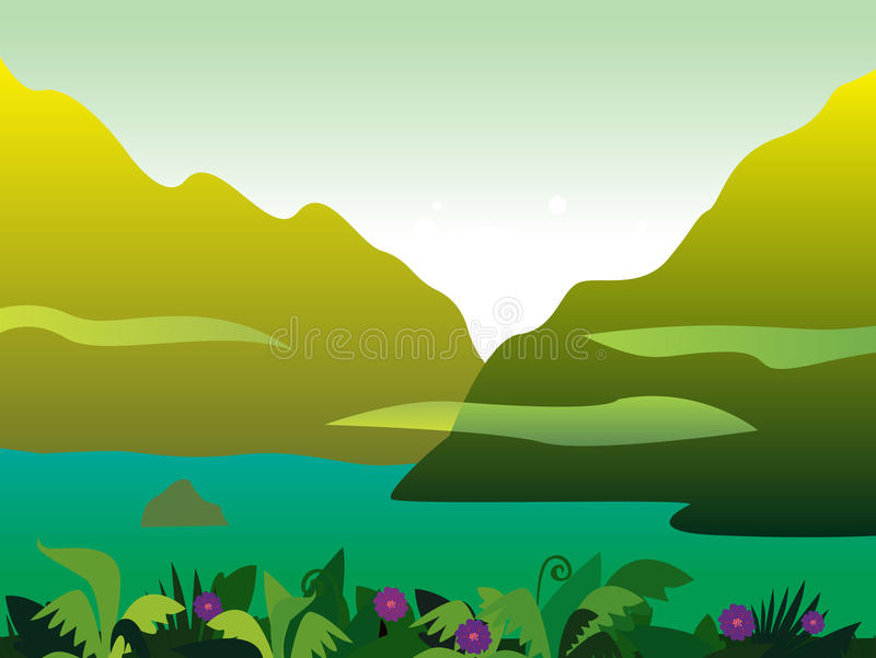 Mountain and jungle landscape background vector illustration
