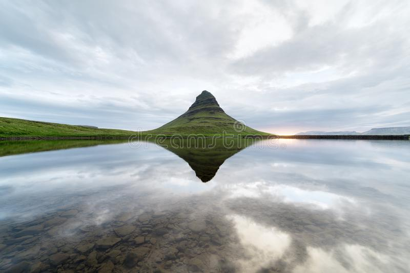 Mount Kirkufell in Iceland stock photography