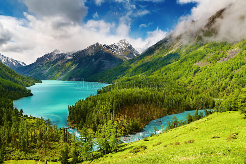Mountain lake. Beautiful turquoise lake Kucherlinskoe in Altai mountains royalty free stock image