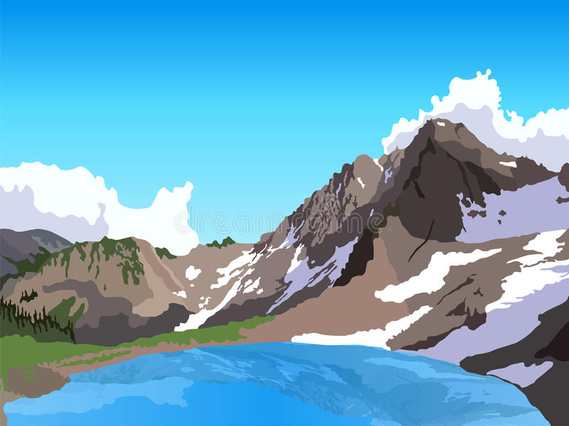Mountain lake stock illustration