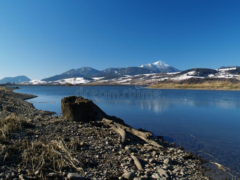 Mountain lake. Scenic shoreline of a high mountain lake in the Liptov region of Slovakia royalty free stock images