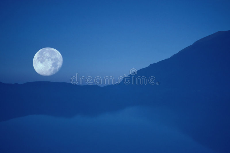 Mountain lake. At moon-rise, fagaras Mountains, Southern Carpathians, Romania stock images