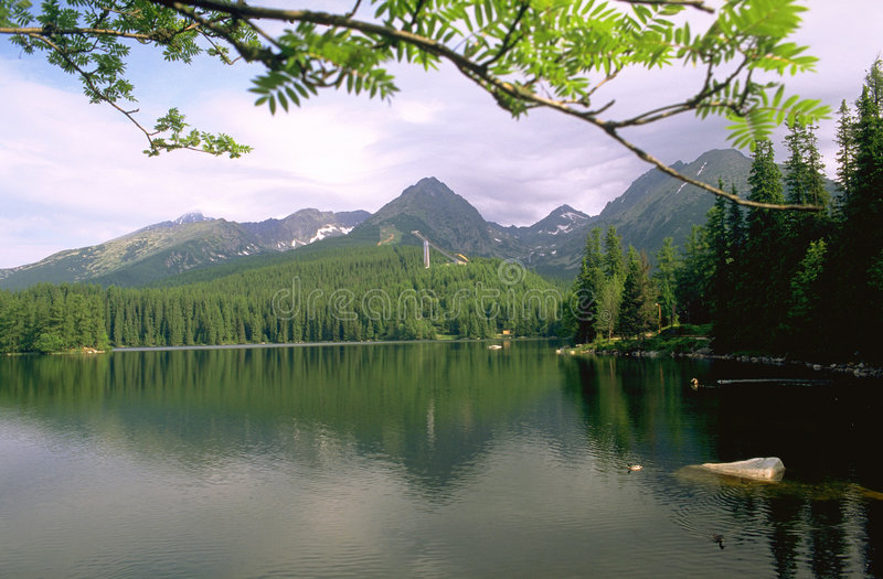 Mountain lake. Strbske Pleso, Western Carpathians, Slovakia royalty free stock photo