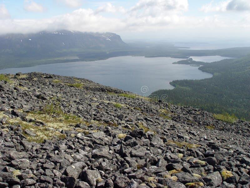 Mountain lake. View on � wonderful lakes from � mountain stock photo