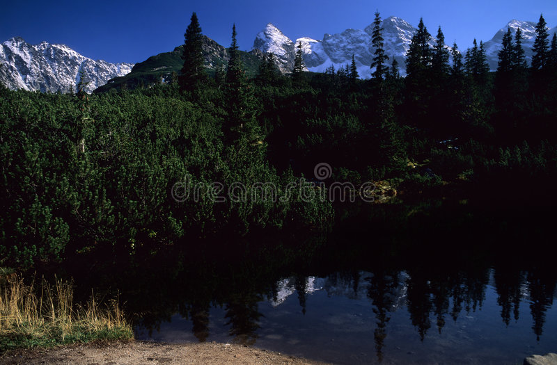 Mountain lake. At High Tatra Mountains, Western Carpathians, Poland royalty free stock photos