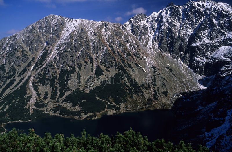 Mountain lake. Czarny Staw Gasienicowy at High Tatra Mountains, Western Carpathians, Poland royalty free stock images