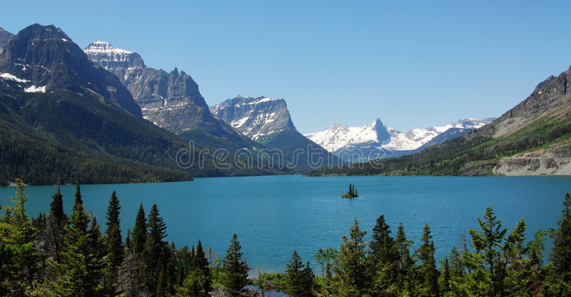 Mountain and lake stock photos