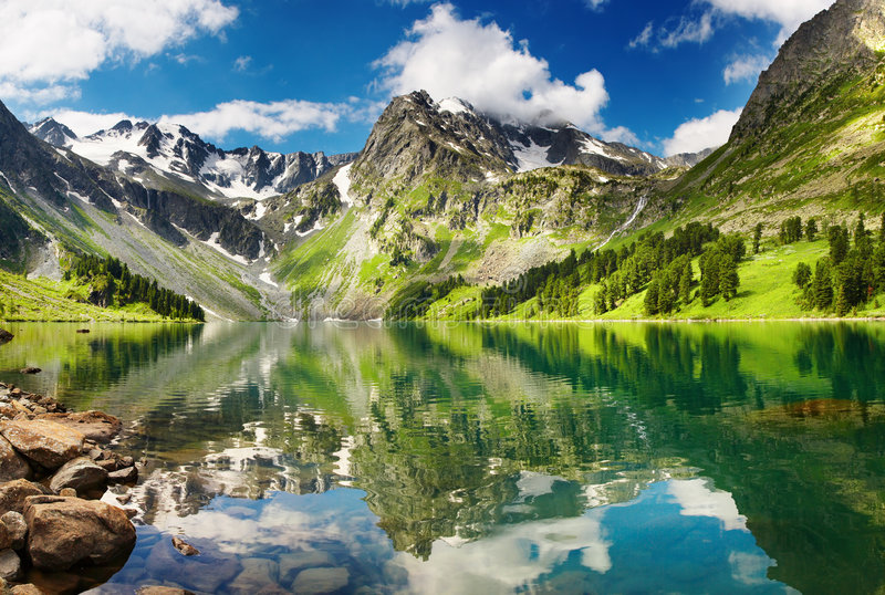 Mountain lake. Beautiful lake in Altai mountains stock image
