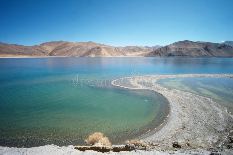 Mountain lake. Pangong Lake, Changtang, Ladakh, India stock image