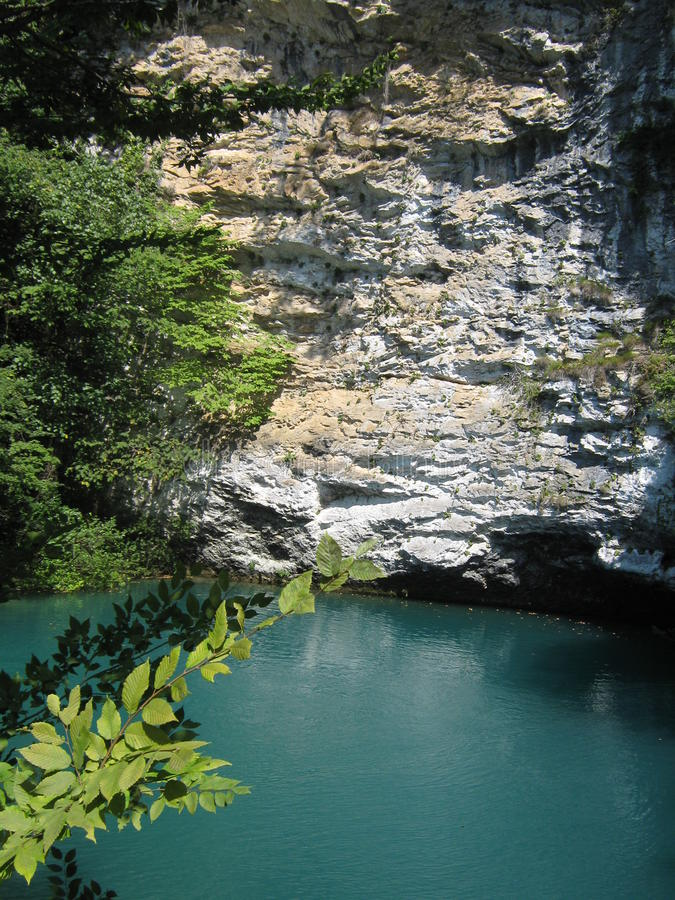 Mountain lake in Abkhazia royalty free stock photography