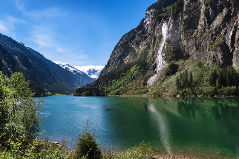 Mountain lake alpine scenic. Stillup lake austrian summer mountain landscape stock image