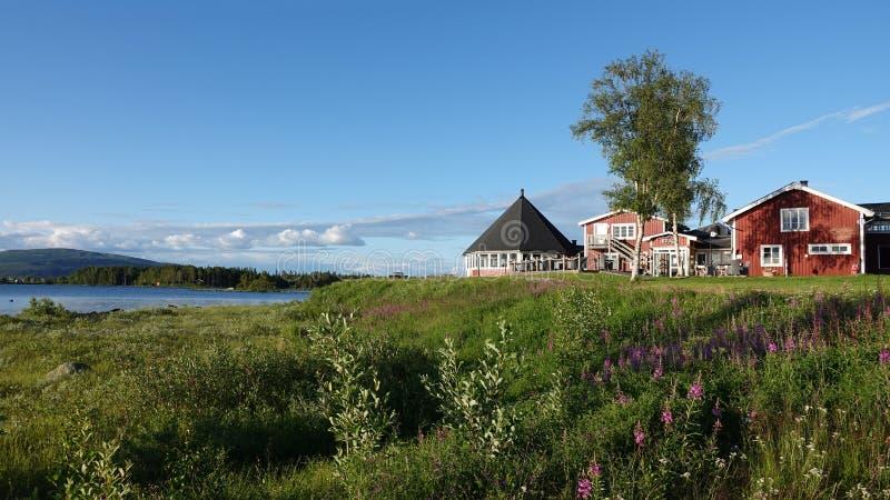 Kraja Camping at Lake Hornavan near Arjeplog in summer in Lapland, Sweden royalty free stock photo