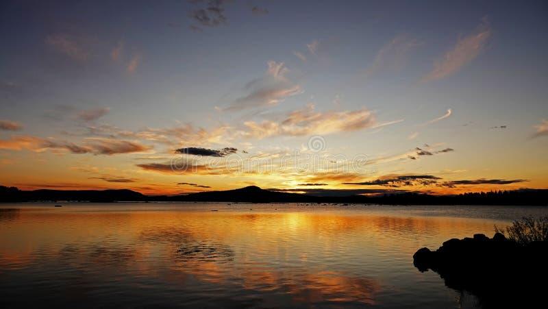 Sunset at Lake Hornavan near Arjeplog in summer in Lapland, Sweden stock images