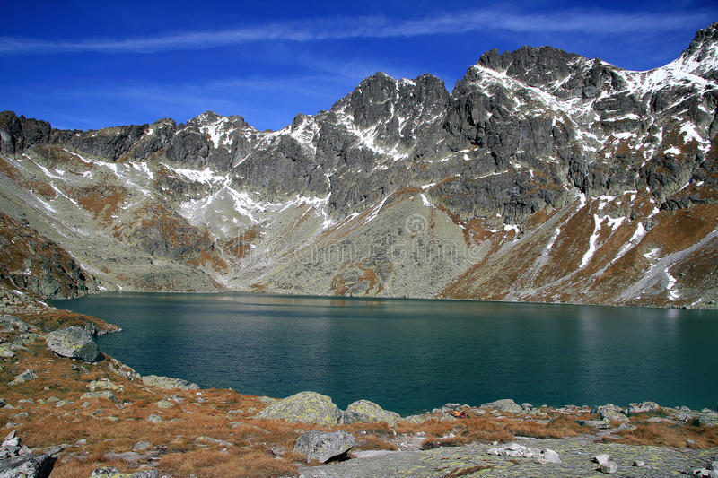 Mountain lake in autumn ( Hincovo pleso ) royalty free stock photos