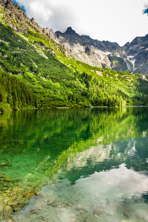 Mountain lake with blue water and rocky mountains royalty free stock photos