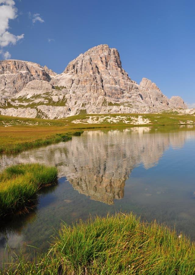 Mountain lake in Dolomites Mountains royalty free stock image