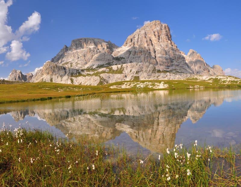 Mountain lake in Dolomites Mountains stock photo