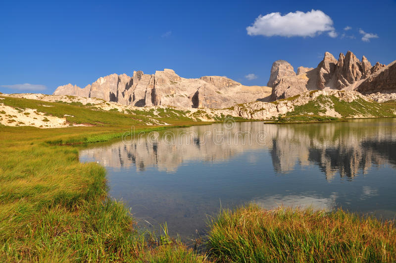 Mountain lake in Dolomites Mountains stock images