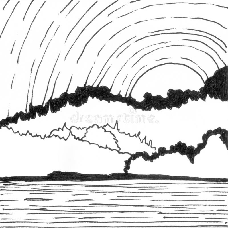 Mountain lake hand drawn ink landscape. Abstract cartoon black and white paint wallpaper with water, trees, clouds, sun. Mountain lake hand drawn ink landscape stock illustration