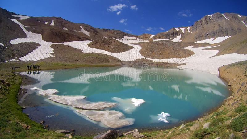 Mountain Lake of Hesarchal glacier stock photo