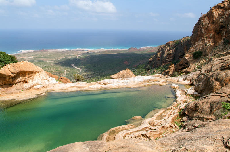 The mountain lake of Homhil on the island of Socotra royalty free stock photography