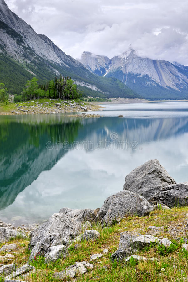 Mountain lake in Jasper National Park stock photos
