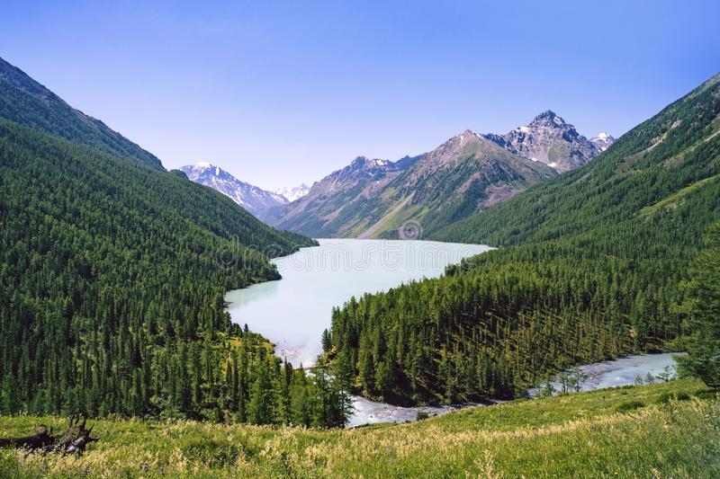 Mountain lake Kucherlinskoe from above, Altay, Russia. Beautiful landscape without people. Beautiful green mountain lake located b. Etween the mountains royalty free stock photos
