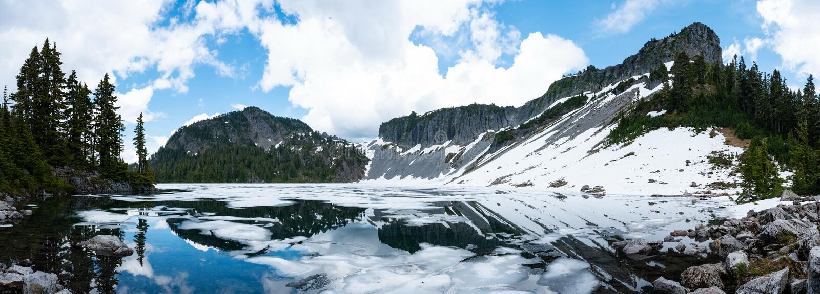 Mountain lake landscape with blue sky and clouds stock photography
