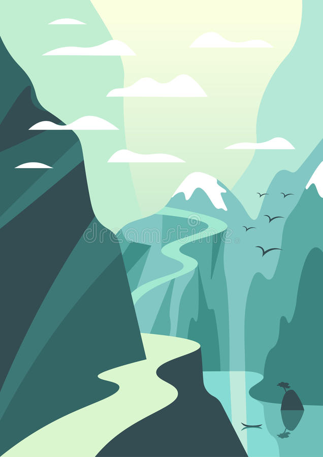 Mountain and lake landscape illustration. Vector travel poster i vector illustration